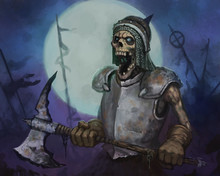 Terrifying Skeleton Warrior Carrying An Ax Into Battle In Front Of A Large Full Moon - Digital Fantasy Painting