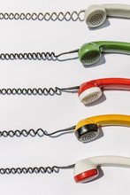 Old Retro Colorful Phone Handsets