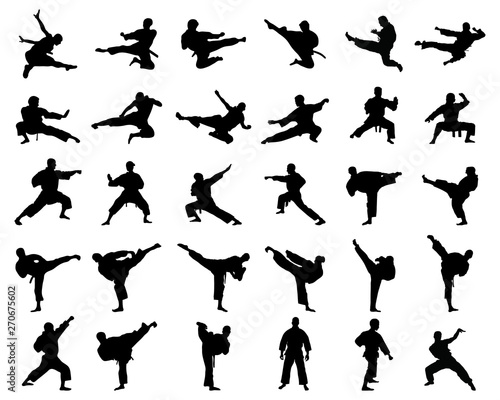 Black silhouettes of karate fighting  on a white background Fototapeta