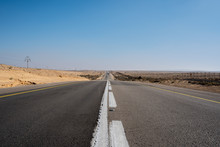 Empty Road Crossing The Desert In Israel