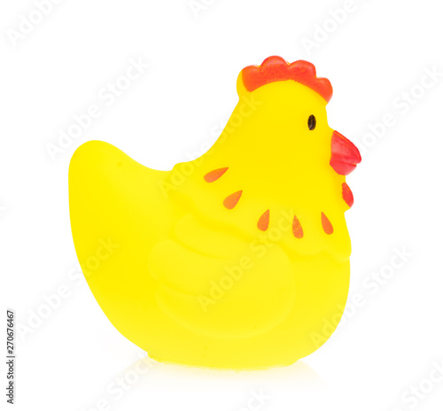 chicken Plastic Toy Animal isolated on white background.