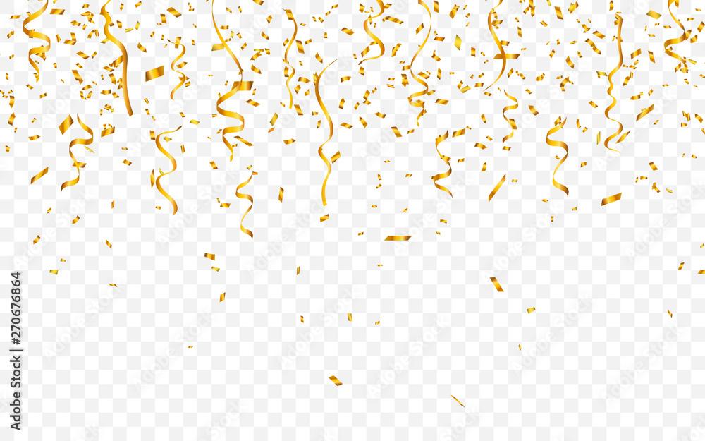 Fototapety, obrazy: Gold confetti. Celebration carnival ribbons. Luxury greeting card. Vector illustration