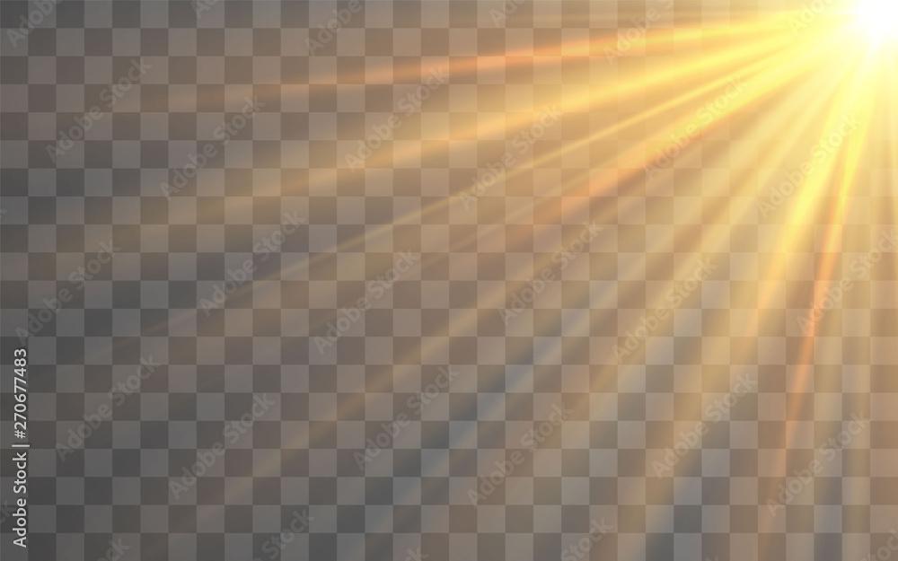 Fototapety, obrazy: Sunlight special lens flash light effect on transparent background. Effect of blurring light. Vector Illustration