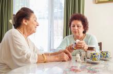 Happy Elderly Ladies Sitting T...