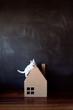 White kitten on a cardboard house