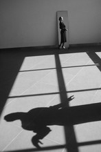 A Girl In The Mirror And Her Shadow.