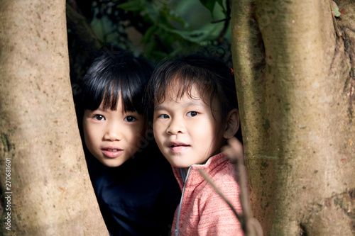 Little girls looking through tree trunk