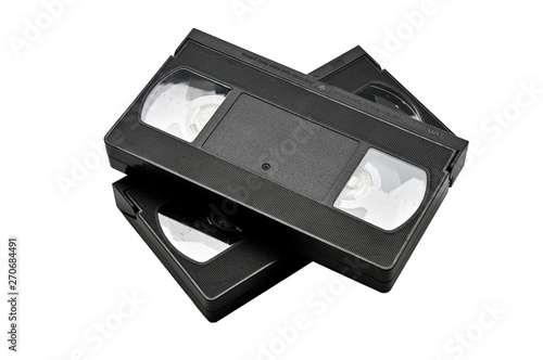 Videotapes for home use on a white background.Videocassette Canvas-taulu