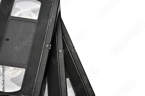 Valokuva  Videotapes for home use on a white background.Videocassette