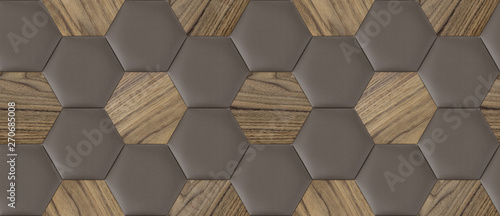 Türaufkleber Metall Soft tile hexagons made of nut wood and brown skin. High quality seamless realistic texture.