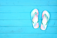 Summer Flip Flops On A Blue Wo...
