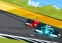 Vector Illustration Of Race Cars On The Race Track In Motion, Front View