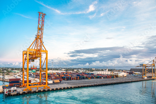 BRIDGETOWN, BARBADOS - November 22, 2016: Freighters now carry most of the world's cargo and the largest container ships can carry over 21,000 units of freight Canvas Print
