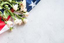 White Roses Over The USA Flag ...