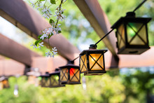 Patio Outdoor Spring Garden In Backyard Of Home With Closeup Of Lantern Lamps Lights Hanging From Pergola Canopy Wooden Gazebo And Plants White Flowers
