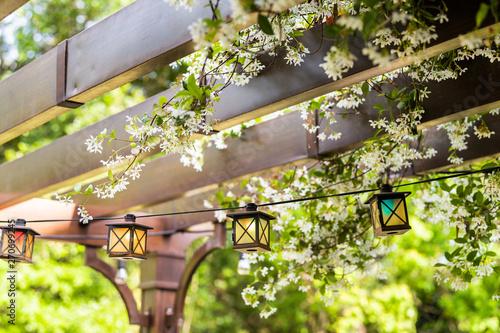 Fotografia Patio outdoor spring garden in backyard of home with lantern lamps lights hangin