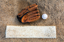 Baseball And Glove On Pitchers Mound Flat Lay