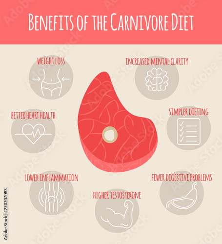 Vector Illustration of Results and Benefits of Carnivore Diet Fototapete