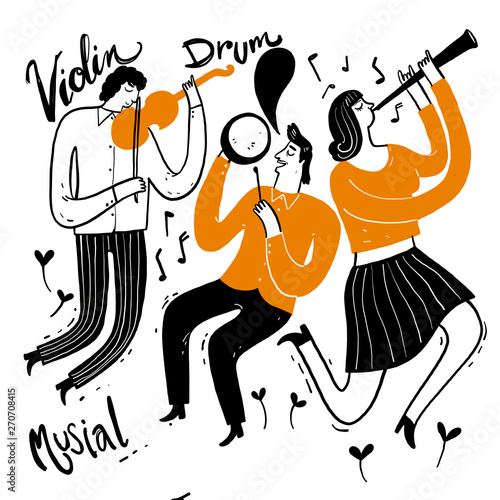 Hand drawing the musicians playing music. Vector Illustration doodle style. Fototapete