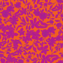 Seamless Repeat Pattern. Vector Illustration Of Pink, Orange And Purple Leaves, Flowers, Tulips And Petunias.