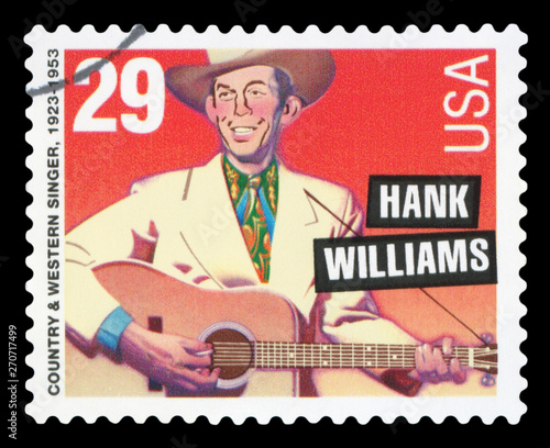 Photo UNITED STATES - CIRCA 1996: postage stamp printed in USA showing an image of Hank Williams, circa 1996