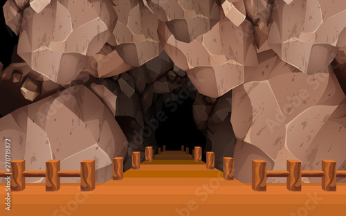 Photo sur Toile Art Studio landscape of wooden walkway at front of the cave