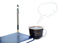 Pen On Notepad For New Year With Text 2020 On Cover And Cup Of Coffee From Which Volatilization In Shape Of Stylized Cloud Of Thoughts To Writing Your Text On Empty Space On White Background. Isolated