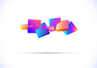 abstract 3D background with vibrant colored cubes in motion