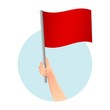 canvas print picture - red flag in hand icon