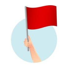 Red Flag In Hand Icon