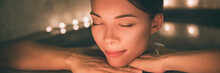 Luxury Spa Massage Woman. Pampering Whirlpool Jacuzzi Lifestyle Girl Relaxing In Hot Water Banner Panorama.