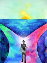 Human Spirital Energy Walking On Way To Choose Between 2 Choice Watercolor Painting Illustration Design