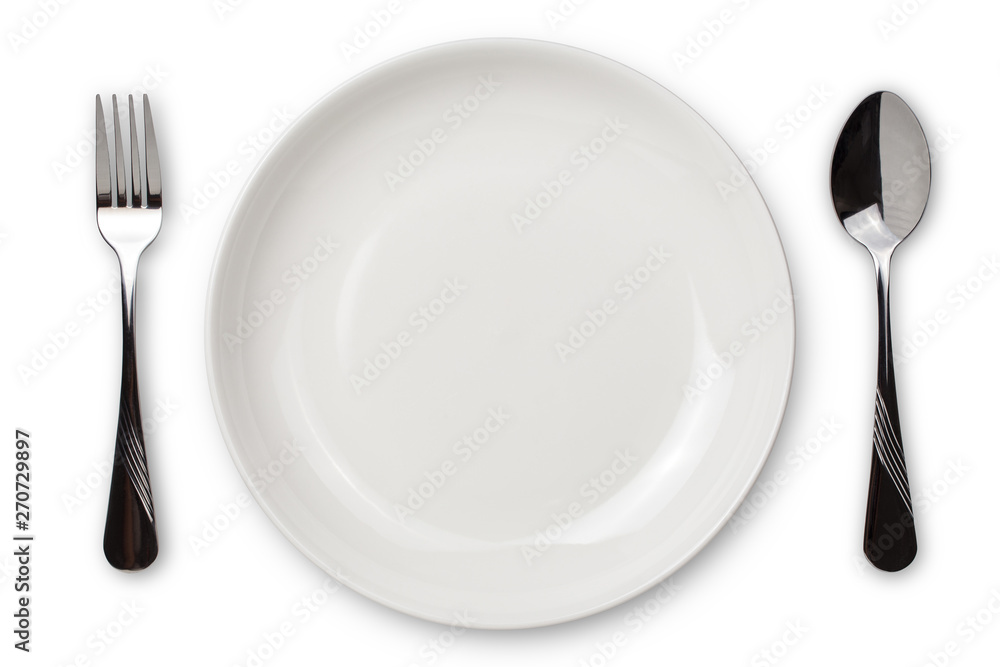 Fototapety, obrazy: Dinner place setting. A white plate with silver fork and spoon isolated on white background. View from above.