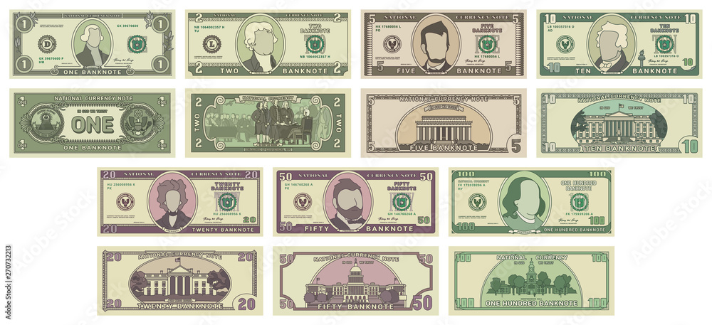 Fototapety, obrazy: Vector cartoon dollar banknotes isolated on white background illustration. Every denomination of US currency note. Back sides of money bills