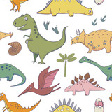 Fototapeta Dinusie - seamless pattern with dinosaurs - illustrations of dinosaurs in the style of cartoon