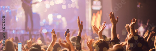 Concert On Stage Show, Entertainment Music Light and Sound, Concert Festival Music, Event Management Performance. Abstract Blur, Bokeh, for Background.  - 270733048