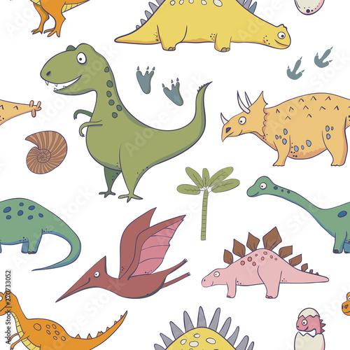 wzor-z-dinozaurami-ilustracje