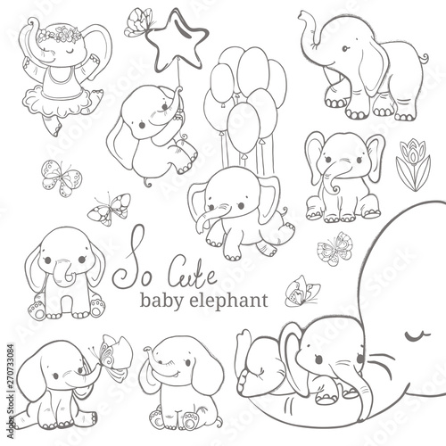 Baby elephant collection over white background Canvas Print