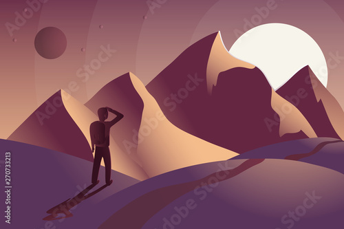Valokuva  Adventure man with backpack, traveler looks at the mountains and the sunset