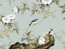 Gray Background, Rock, Thin Branches With White Flowers, Two Sitting Birds