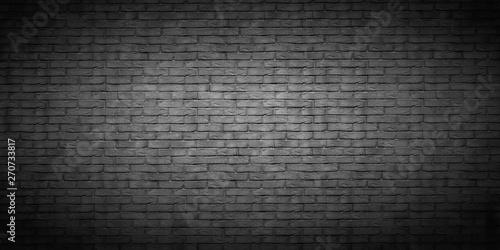 Foto op Plexiglas Black brick wall texture panoramic backdrop.