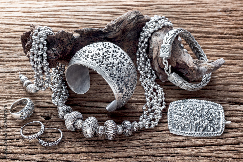 Fototapety, obrazy: Collection of antique traditional silver jewelry on old wood