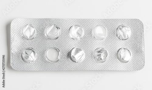 Fotografie, Tablou Silver blister packs pills isolated on white