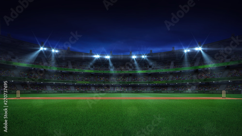 Night cricket field general side view and stadium lights on Wallpaper Mural