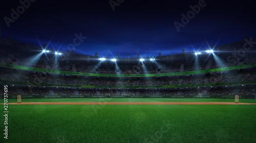 Fotografia Night cricket field general side view and stadium lights on