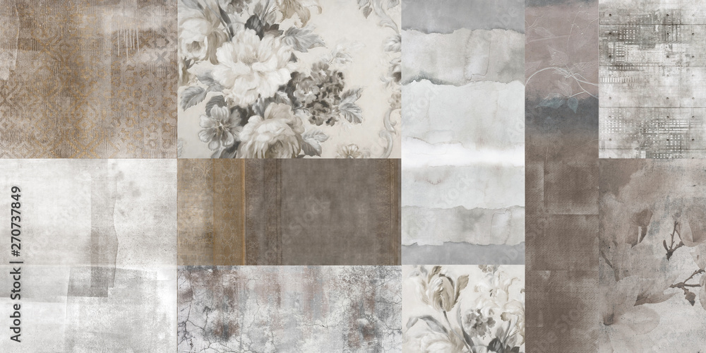 Fototapeta Vintage art flowers background,  antique floral seamless pattern, patchwork wallpaper design