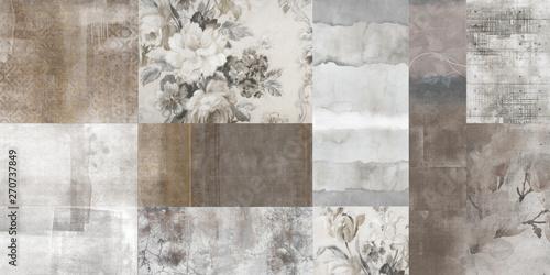 Fototapeta Vintage art flowers background,  antique floral seamless pattern, patchwork wallpaper design obraz