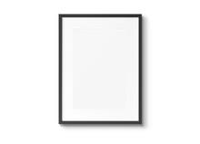 Black Vertical Wooden Frame On Wall Background 3D Rendering