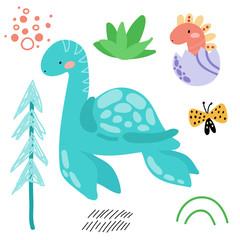 Cute cartoon dinosaurs, flo...