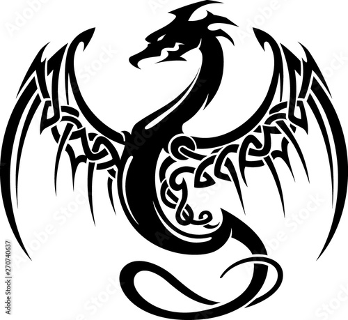 Foto Celtic Mythical Dragon Sigil, Isolated Vector